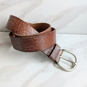 FOSSIL Leather Tooled Floral Pattern Brown Belt